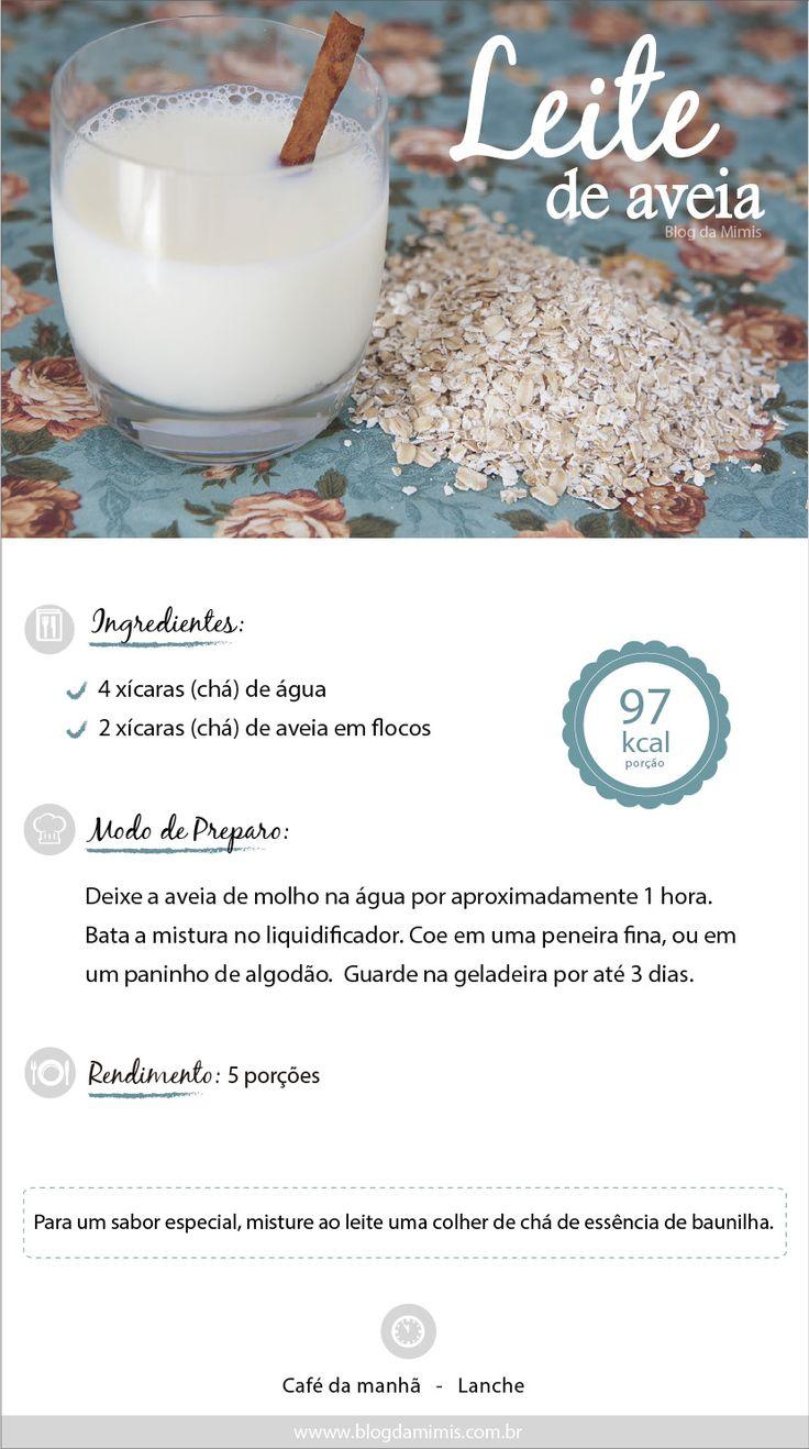 Leite de aveia: deixe de molho 2 xícaras de chá de aveia em 4 xícaras de chá de água por 1 hora. Bata a mistura no liquidificador. Coe em uma peneira fina ou pano de algodão. Guarde na geladeira por até 3 dias. Rende 5 porções de 97 kcal.
