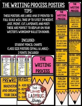 Writing Process Posters Pencil Clip Chart & Student Tracking Charts
