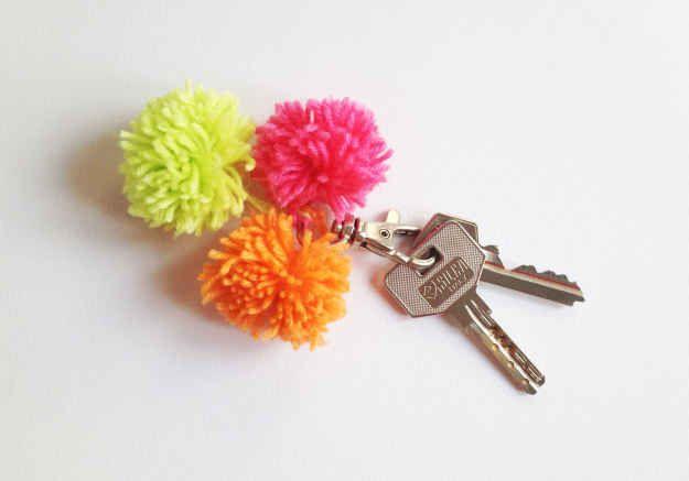 DIY Pom-Pom Keychain | 15 DIY Pom-Pom Projects For Jazzing Up Everyday Items