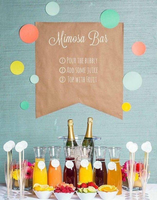 This mimosa bar is a must for an engagement party.