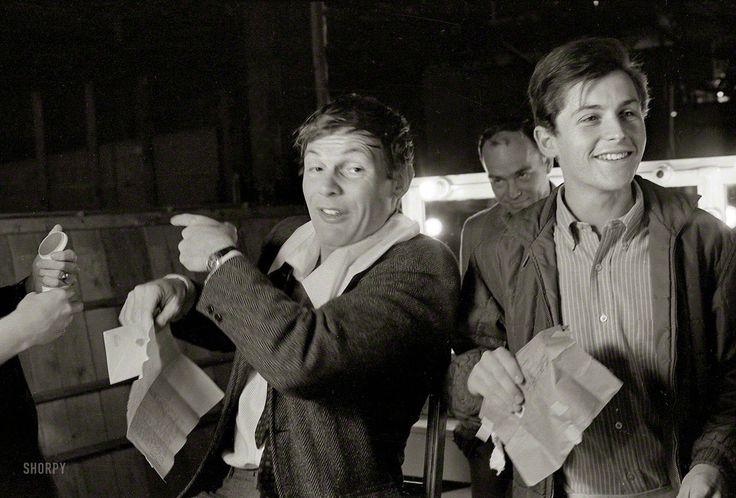 "vintage everyday: Actors Adam West and Burt Ward on the set of the movie ""Batman"" (1966)"