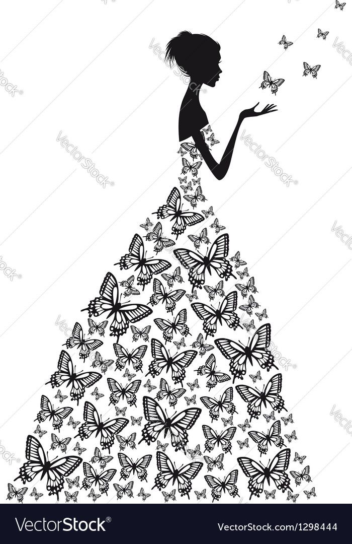 Vector image of Butterfly woman Vector Image, includes black, face, pattern, hair & drawing. Illustrator (.ai), EPS, PDF and JPG image formats.