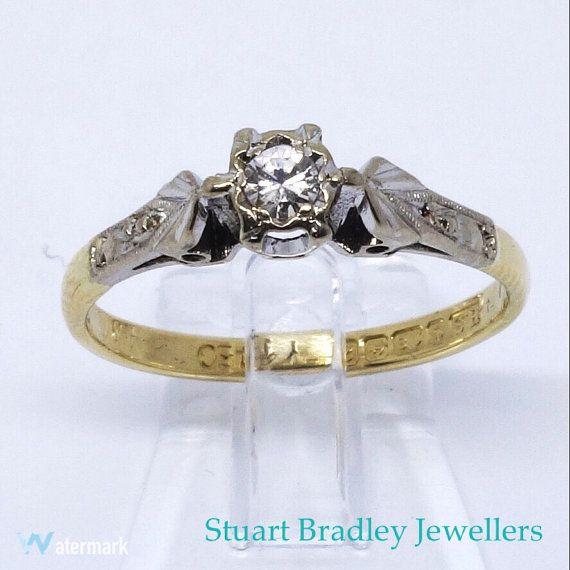 Vintage Diamond Solitaire Ring  1960s  Size by SBradleyJewellers