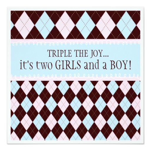 Triple the Joy Argyle Boy Girl Triplet Baby Shower Card
