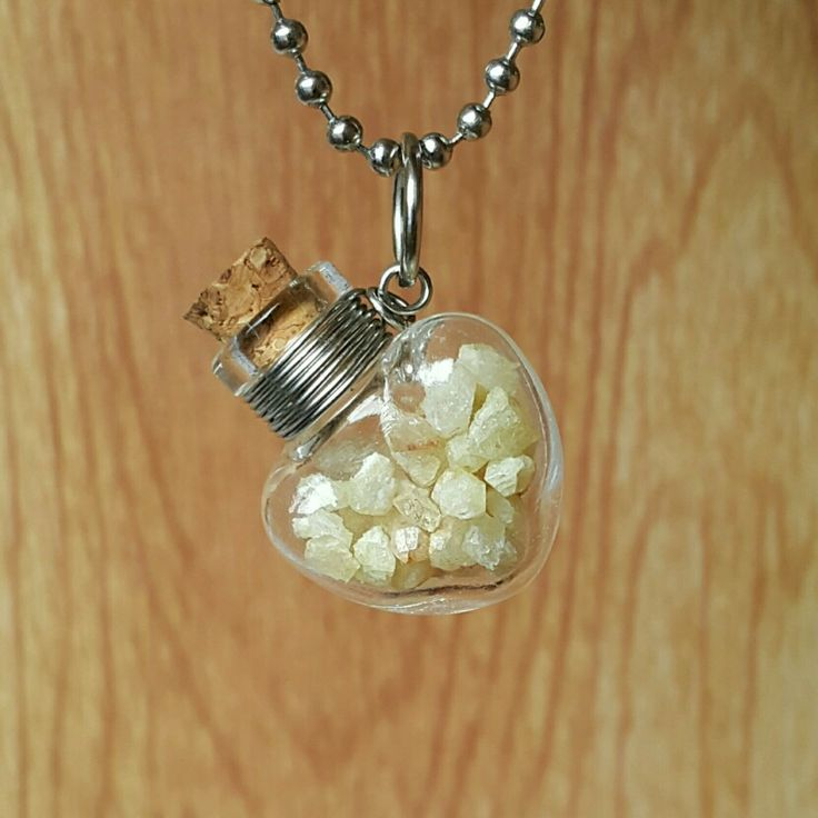 #rhodizite vial glass #pendant  stainless wire #BottleCharm