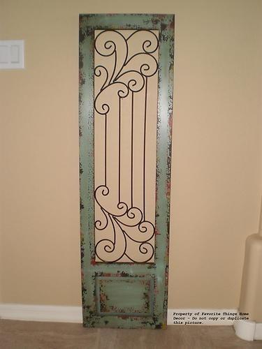 "49"" TALL SHABBY PARIS CHIC DISTRESSED FRENCH IRON & WOOD DOOR PANEL WALL DECOR 