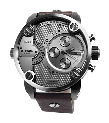 Montre Homme Diesel Quartz - Cadran Acier inoxydable Argent - DZ7258 - Chronographe - Bracelet en Cuir Marron