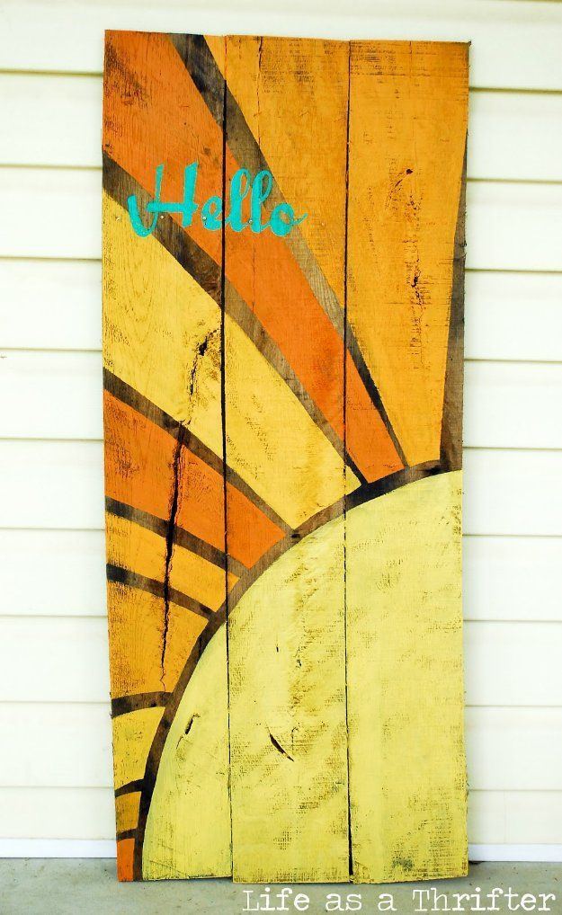 DIY Pallet sign Ideas - Hello Sunshine Wall Sign - Cool Homemade Wall Art Ideas and Pallet Signs for Bedroom, Living Room, Patio and Porch. Creative Rustic Decor Ideas on A Budget http://diyjoy.com/diy-pallet-signs-ideas