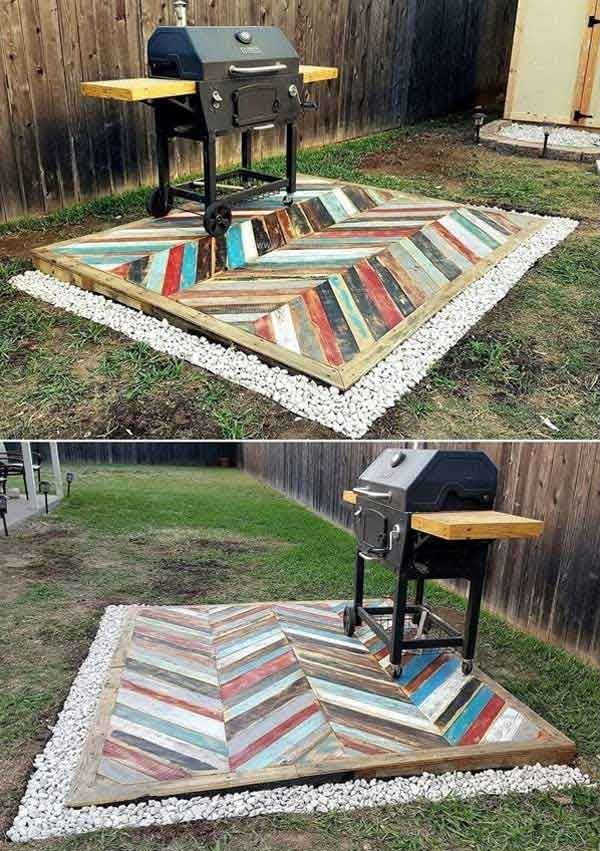 #18. Build a backyard grill area on a pallet deck with colorful chevron pattern.