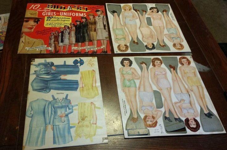 1943 Pachter Bild-A-Set Jr. Girls in Uniform Paper Dolls Uncut #pachter
