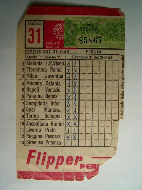 La schedina del Toto calcio.