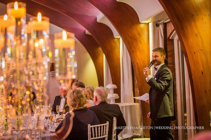 Colshaw-Hall-winter-wedding-photography | Best man's speech in the Peel Suite at Colshaw Hall by Martin Hambleton wedding photographer