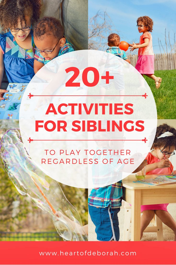 Want to encourage sibling play? 20+ Activities Older and Younger Siblings Can Play Together! Great and easy kids activities siblings can do together regardless of age or sex.