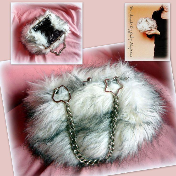 Handmade by Judy Majoros- Faux fur clutch-evening bag. Recycled bag