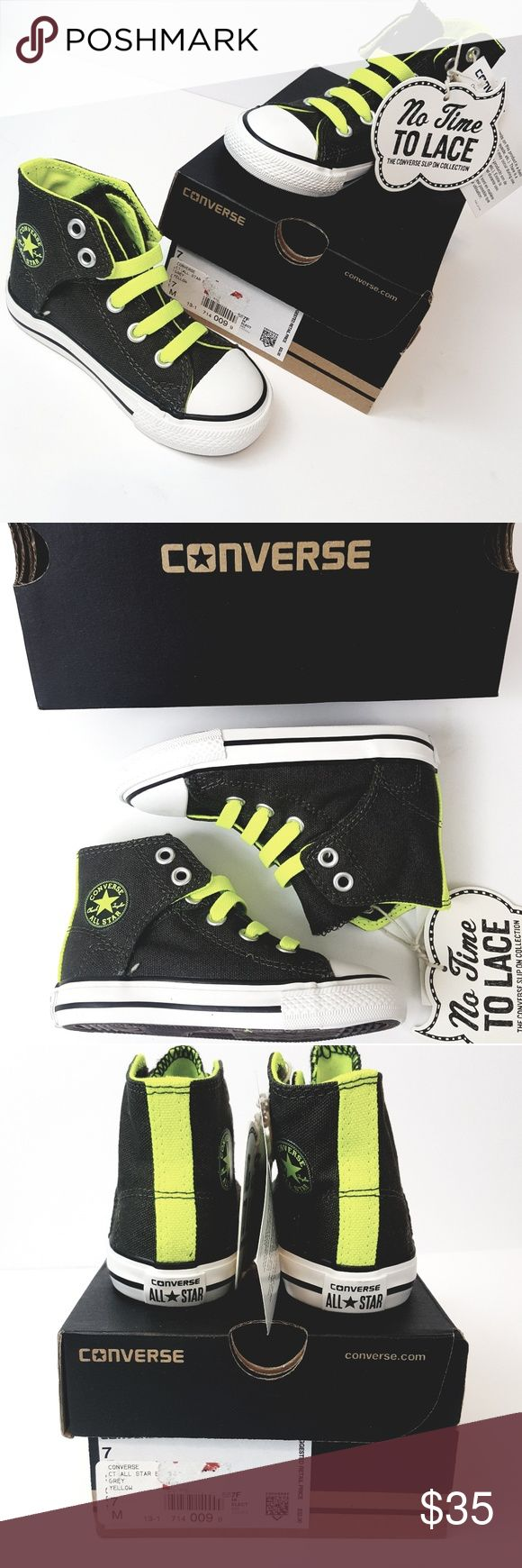Converse All Star NIB No Time To Lace size 7 Brand new never worn high tops.  Color is a dark grey almost black and neon yellow. Converse Shoes Sneakers