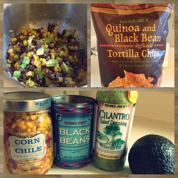 Trader Joes Back Bean Corn and Cilantro Dip! 1 can of back beans drained and rinsed. 1 jar of Corn Salsa from Trader Joes found near the salsas at the store. 1.5 TSP of Cilantro Dressing from Trader Joes and an avocado sliced and diced. Mix all together and chill! All of my favorite TJ's ingredients in one bowl!?