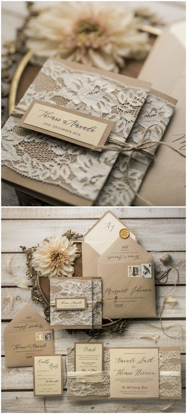 Rustic Eco Wedding Invitations With Real Lace Ideas
