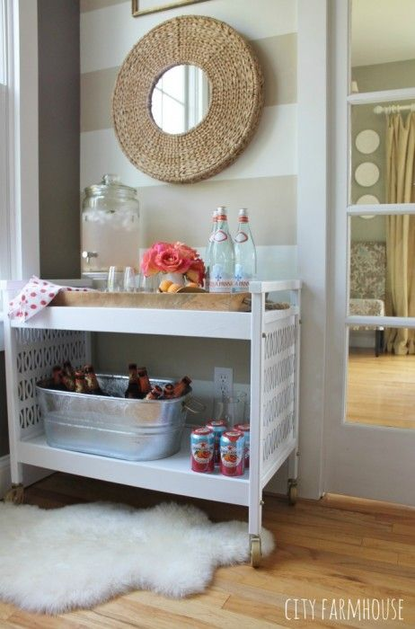 This charming rustic bar cart isn't too bourgie for beer! Be sure to check out the rest of our list of can't miss bar carts.