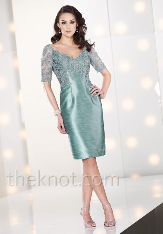 Dress features embroidery, lace, and 3/4-length sleeves. Also available in sizes 16W - 26W.Lace Embroidered, Half Sleeves, Dresses Mothers, Embroidered Half, Lace Sleeve, Brides Dresses, Mon Cheri, Ibeauti Dresses, Mob Dresses