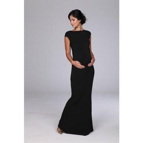 b95ecbe16b3 Black Cap Sleeve Maxi Maternity Dress perfect for formal events ...