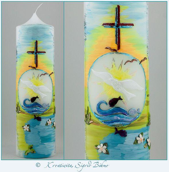 Taufkerze  Landschaft von  Kerzenkunst -  Kreatiwita auf DaWanda.com