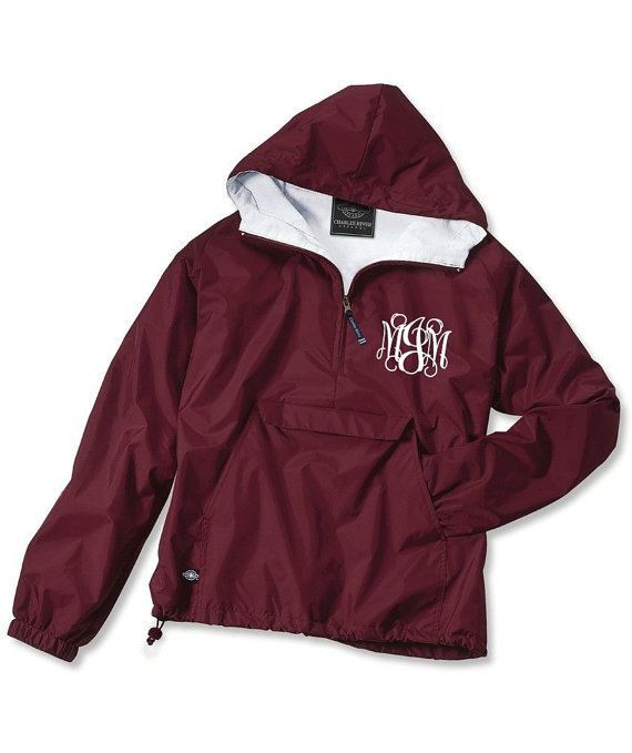 Maroon Monogrammed Personalized Half Zip Rain Jacket Pullover by Charles River Apparel on Etsy  $30 00