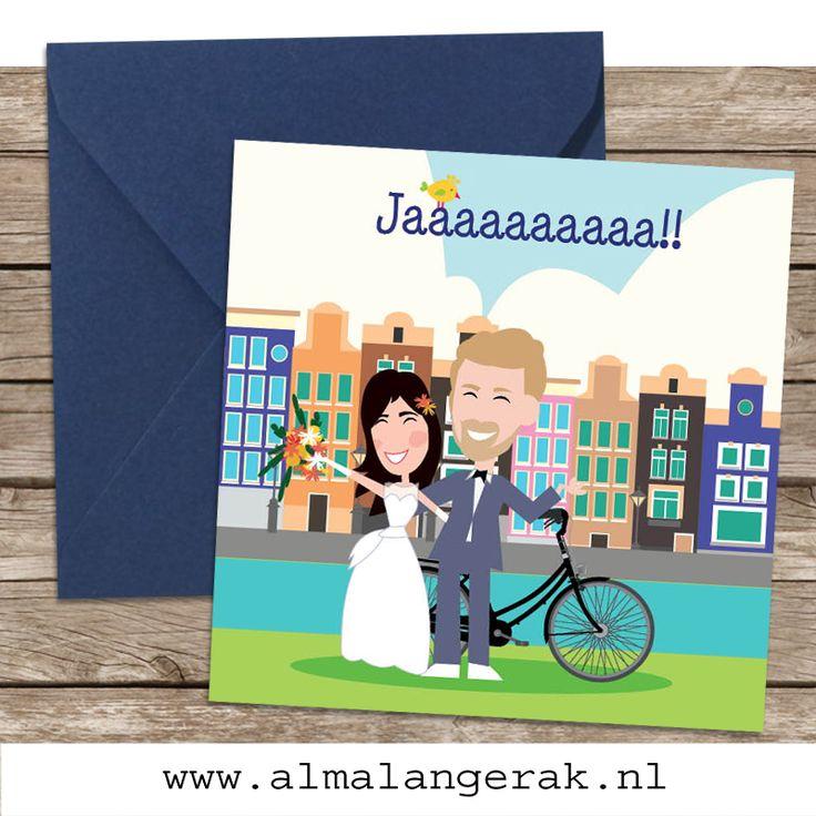 #zeeman #trouwjurk gescoord? Ik teken hem graag na op jullie #trouwkaarten! Voor meer trouwkaartjes op maat met een cartoon van jullie samen, kijk op www.almalangerak.nl