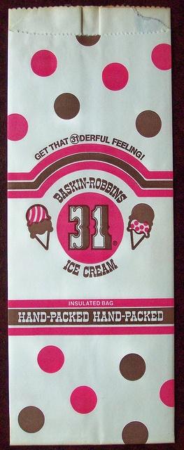 1977 baskin robbins 31 flavors ice cream bag