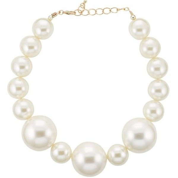 Kenneth Jay Lane Women's Oversized-Imitation-Pearl Necklace ($49) ❤ liked on Polyvore featuring jewelry, necklaces, gold, polish jewelry, graduation jewelry, fake jewelry, lobster clasp necklace and fake pearl necklace