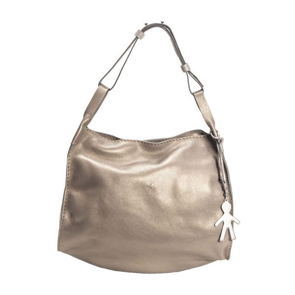 Soft grained calf leather shoulder bag, pearly vegetable finishing. Adjustable shoulder strap. Removable logo charm. Zip top closure.