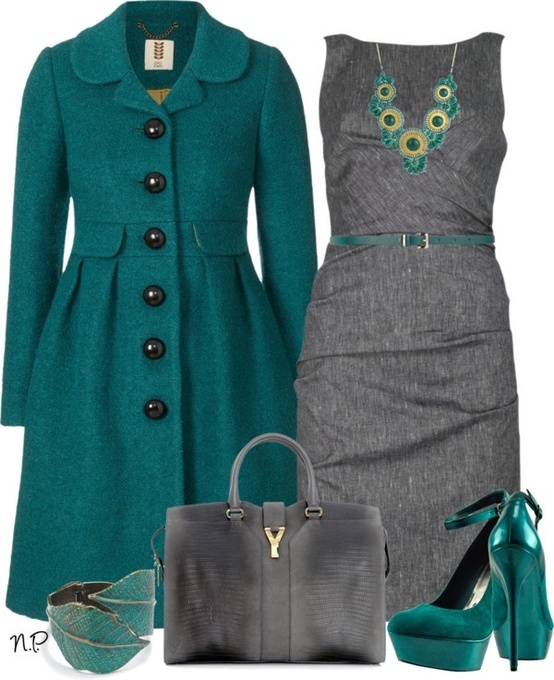 Emerald Green Swing Coat, Grey pencil dress, pumps, grey bag, leaf cuff