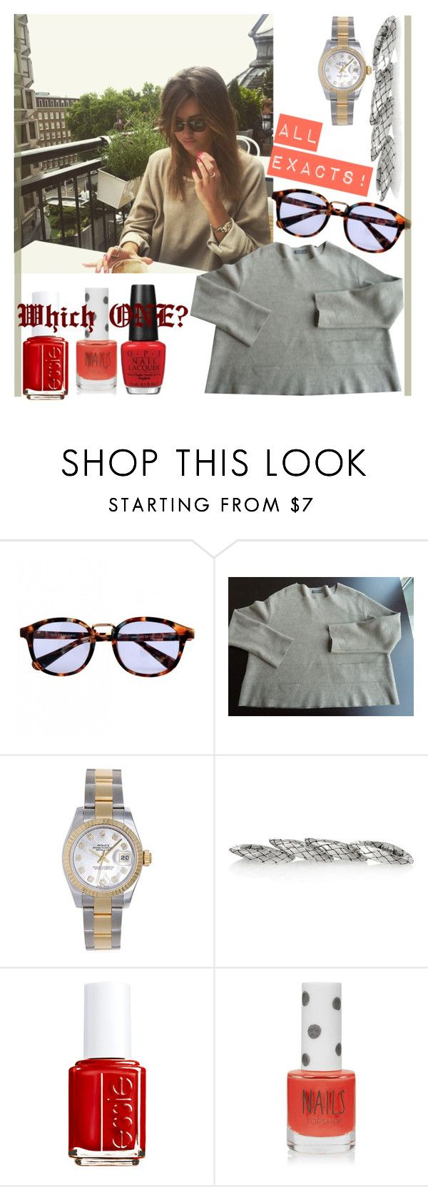 """ELEANOR CALDER INSPIRED OUTFIT <3"" by costina-raftu ❤ liked on Polyvore featuring Rolex, Bottega Veneta, Essie, Topshop and OPI"