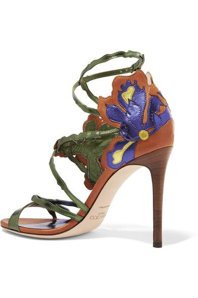 Jimmy Choo - Lolita Appliquéd Metallic Leather Sandals - Purple - IT36.5