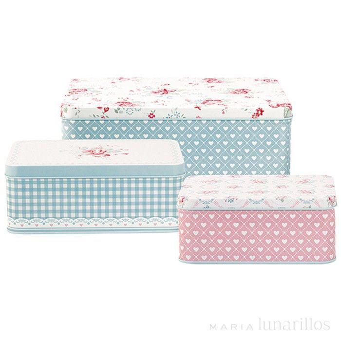 Set 3 latas rectangulares Abelone GreenGate