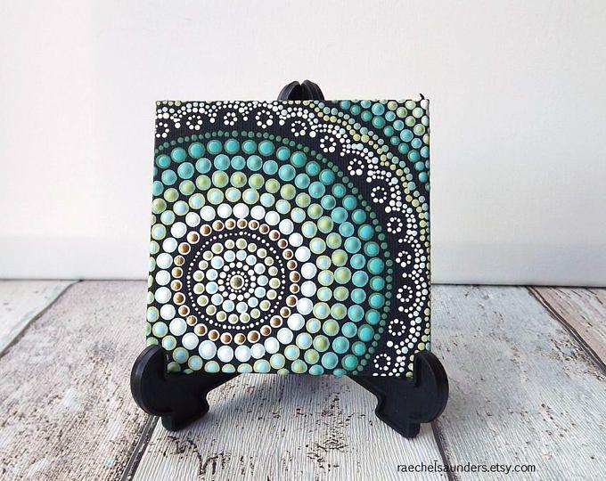 """Plage Dot Design autochtones peinture, par Biripi artiste Raechel Saunders, 4 """"x 4"""" toile tableau, peinture acrylique, décoration hippie, art de l'ombre"""