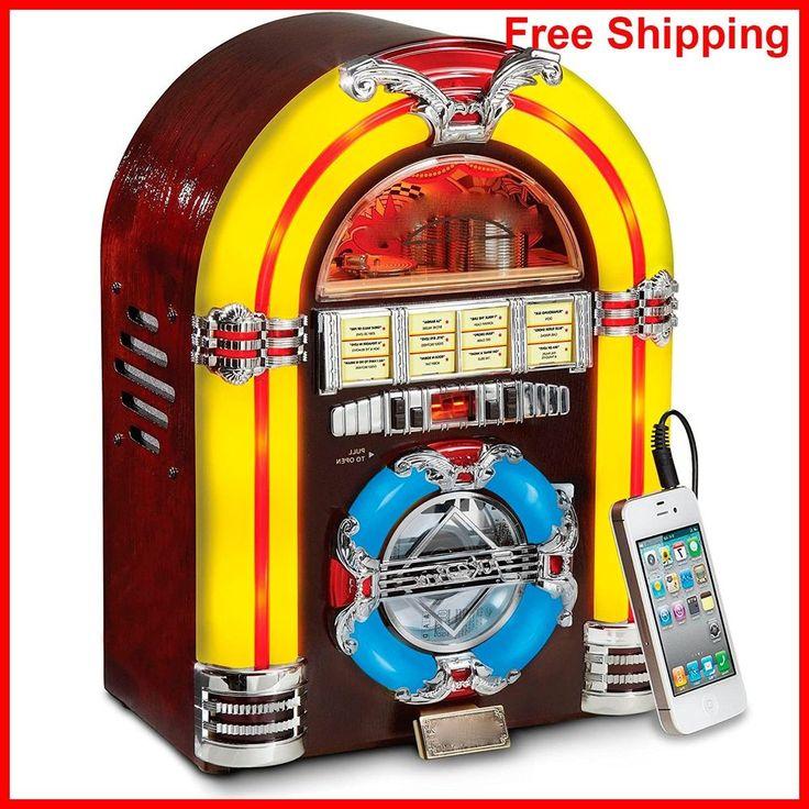 Vintage Jukebox Radio Retro CD Player Table Top Led Gift Reproduction Replica  #Crosley