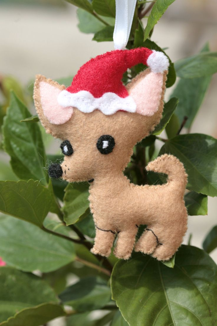Super Cute Chihuahua Dog with Santa Hat Felt by cockTHEshutter