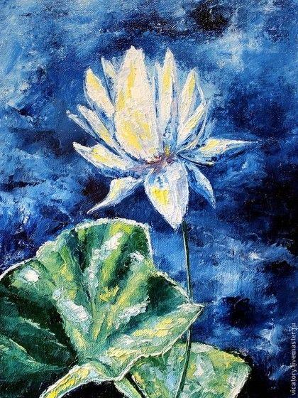 "Картина ""Цветы. Светящийся лотос"" Техника: холст на картоне, масло, мастихин Размер: 24*30 см Год создания: 2014 год"