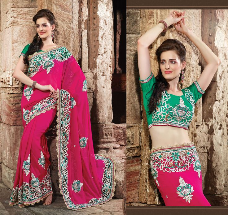 Pink Georgette Saree With Zari And Reshum Embroidery. Find More @ FabAarna.......