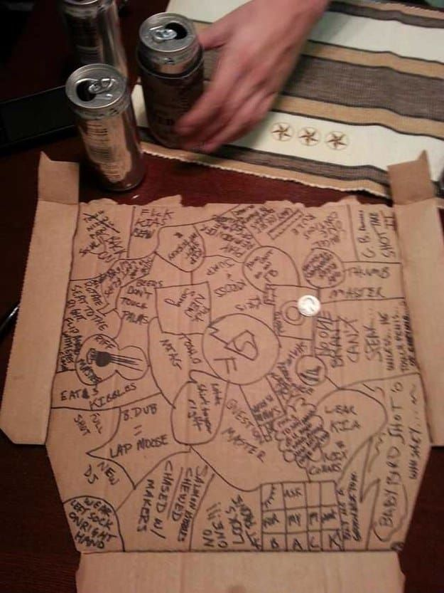 All you need is a pizza box (or another big sheet of cardboard) and a fun group of people. The game starts with each player's name written in Sharpie and circled on a flattened pizza box. Players take turns flipping a coin onto the box. If it lands on a name, that player drinks. But if it lands on the board on a blank spot, that's where the chaos begins! The coin-flipper draws a new circle (or square, or whatever shape) and can write any rule or activity they want in the new circle. The next…