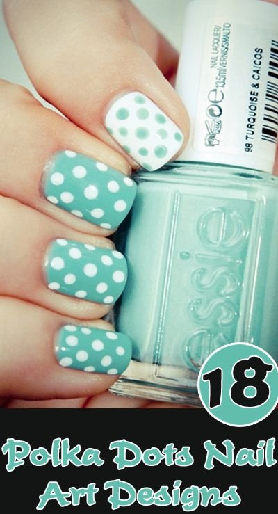 Polka Dots Nail Art Designs: Check these Top 18 Polka Dots Nail Art styles for inspiration More Fashion at http://www.thedillonmall... Free Pinterest E-Book Be a Master Pinner http://pinterestperfecti...