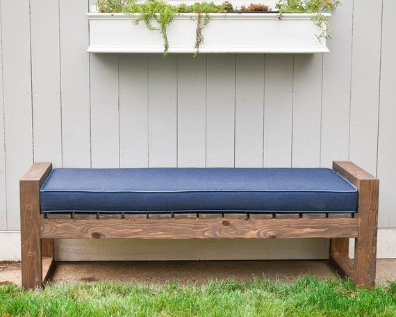 Sunbrella Custom Cushion Garden Bench Mudroom Patio Etsy Modern Backyard Custom Bench Cushion Custom Cushions