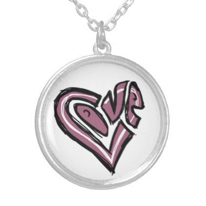 Love Heart Graffiti Necklace - jewelry jewellery unique special diy gift present