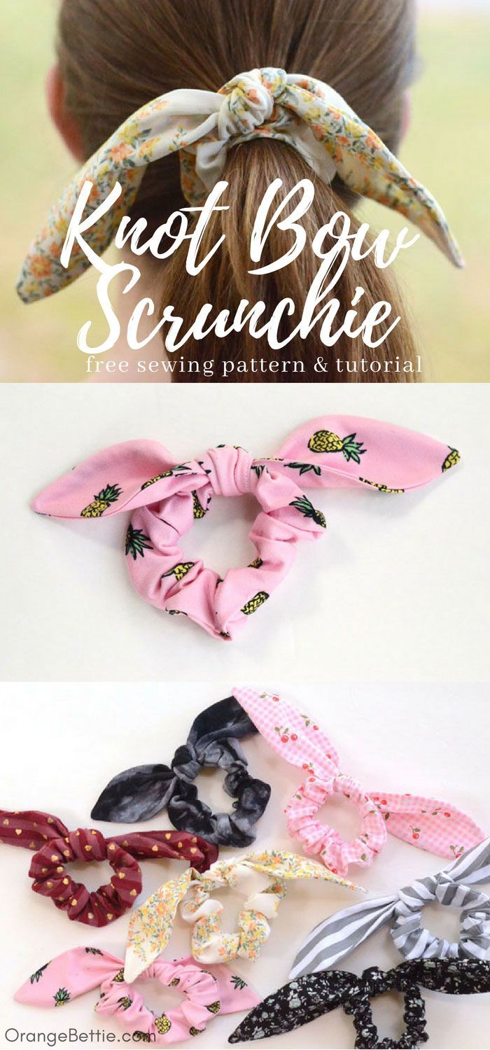 tutorial: Knot bow scrunchie, with pattern