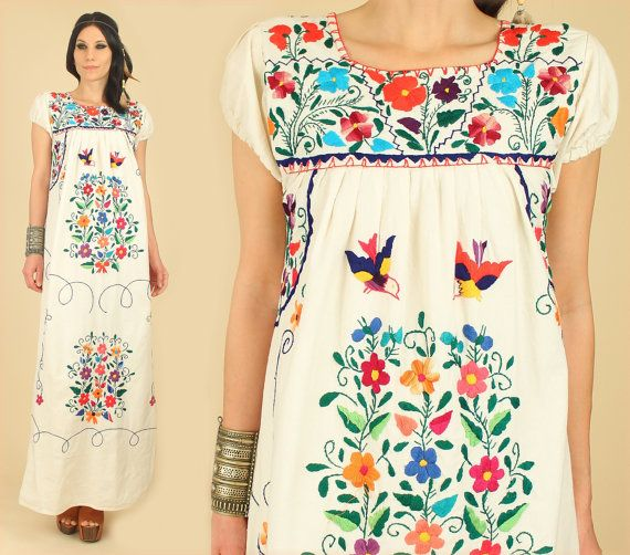 Vintage s floral birds oaxacan mexican embroidered