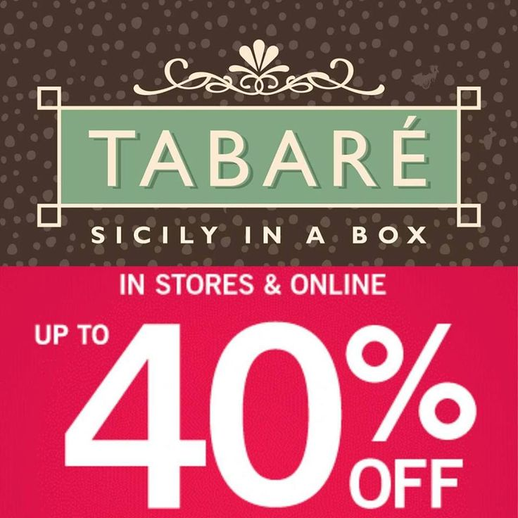 From now till 29 of february: 40% off on all our products, enjoy your shopping on www.tabare.it! #tabarè #discounts #shopping #sicily #food #sicilianproducts #gourmet #ecommerce #shop #e-shop #40% #off #store #online #sicilianfood #blackfriday #february