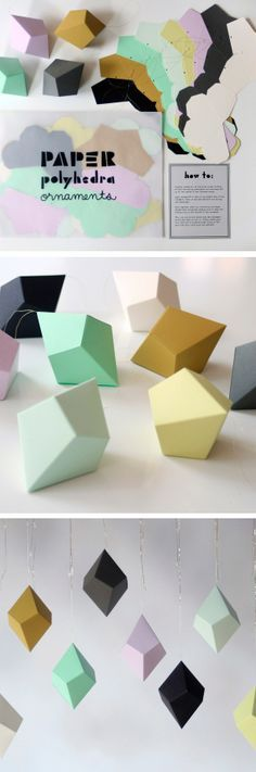 # DIY Polyhedra Ornaments # Field Guide Design # paper ornaments