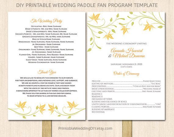 Items Similar To Printable Wedding Program Fan Template