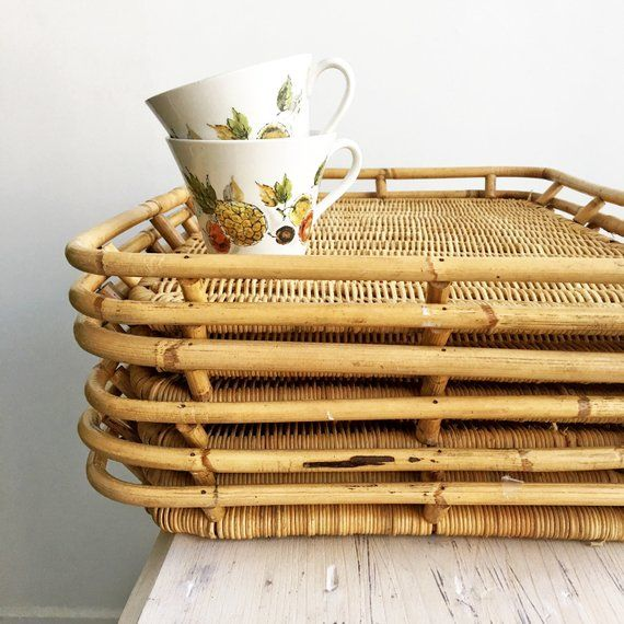 Two Vintage Bamboo Woven Serving Trays Rectangle Wicker Etsy Bamboo Weaving Wicker Decor Outdoor Dinner Parties