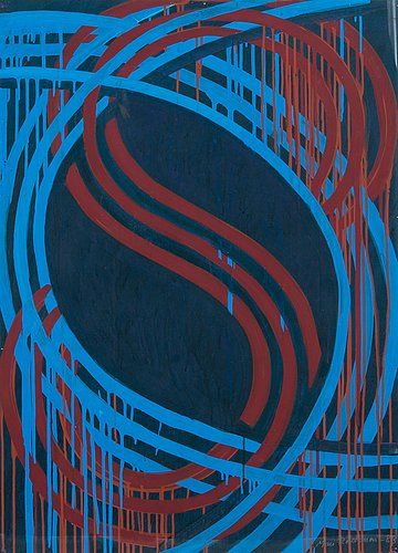 Mari Rantanen: Abstraktinen, 1983, akryyli pahville 105 x 76 cm. Bukowskis